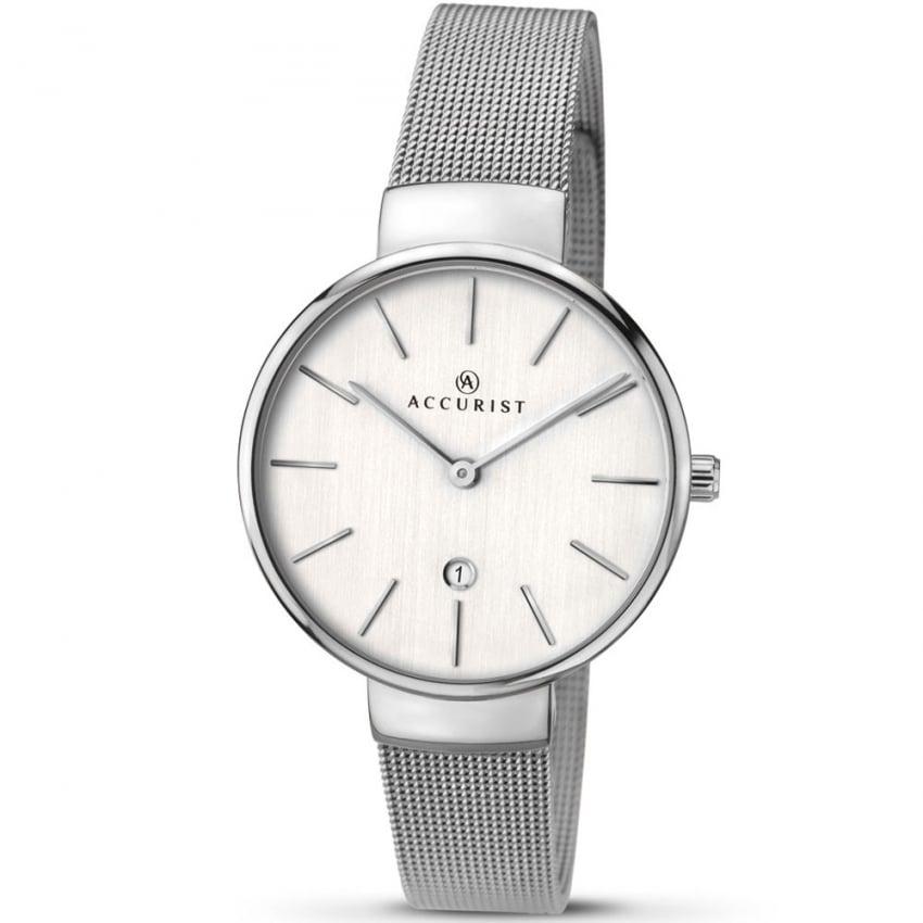 Accurist Ladies Silver Tone Mesh Bracelet Watch 8080