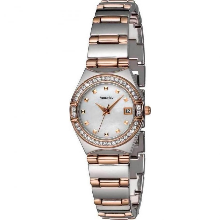 Accurist Ladies Steel And Rose Crystal Set Watch LB1663P