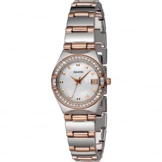 Ladies Steel And Rose Crystal Set Watch