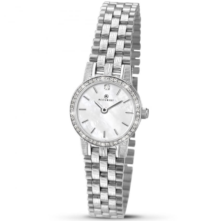 Accurist Ladies Stone Set Mother of Pearl Dial Quartz Watch 8077