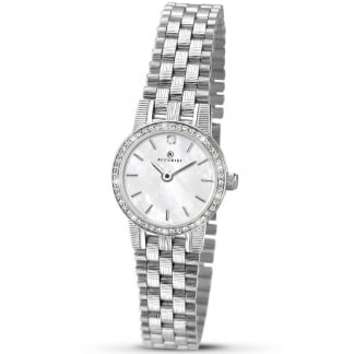 Ladies Stone Set Mother of Pearl Dial Quartz Watch 8077