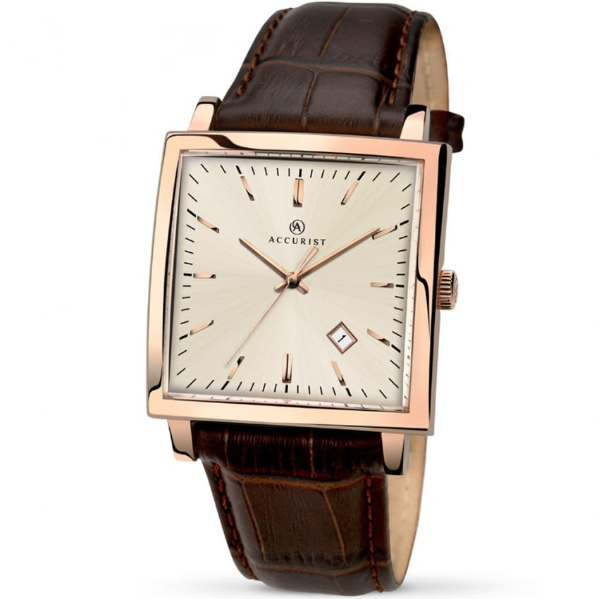 Accurist Men's Brown Leather Rose Gold Vintage Watch 7030