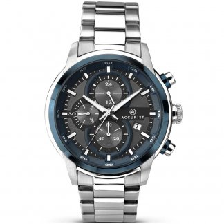 Men's Chronograph Watch With Blue Detailing