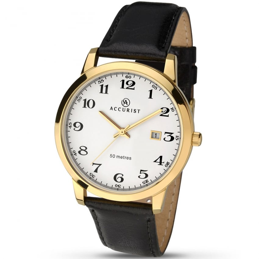 Accurist Men's Gold Tone Dress Watch With Arabic Dial 7027
