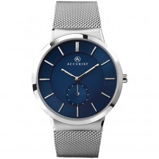 Men's Steel Mesh Strap Watch With Blue Dial 7014