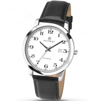 Men's Quartz Classic Black Strap Watch 7026