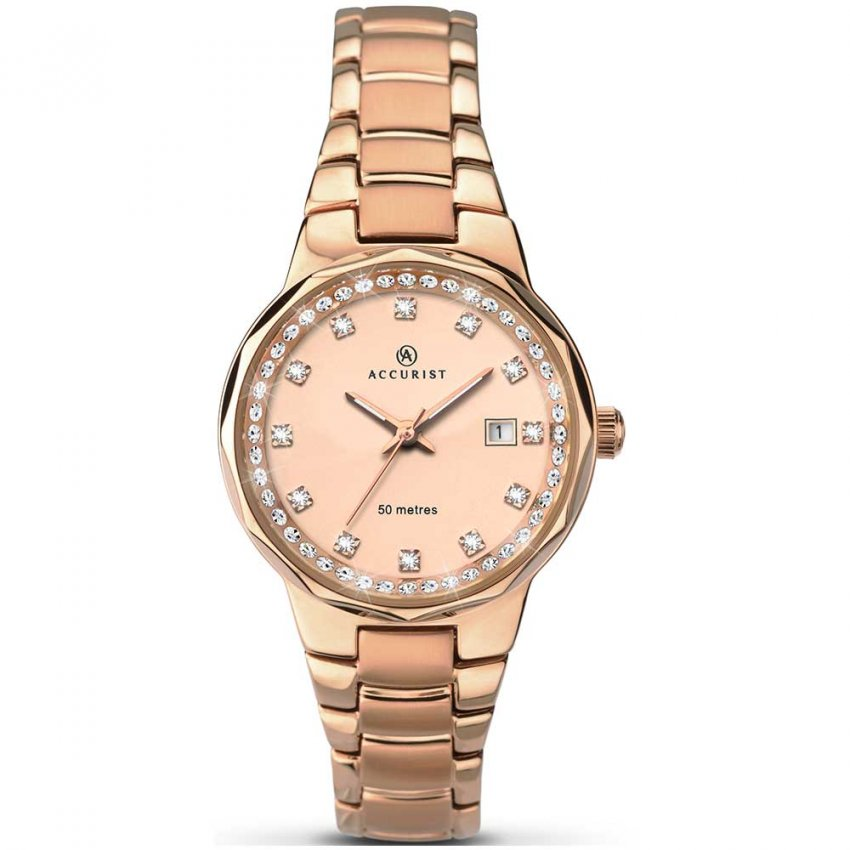 Accurist Ladies Stone Set Rose Gold Quartz Watch 8017