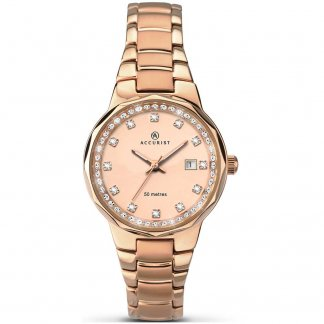 Ladies Stone Set Rose Gold Quartz Watch
