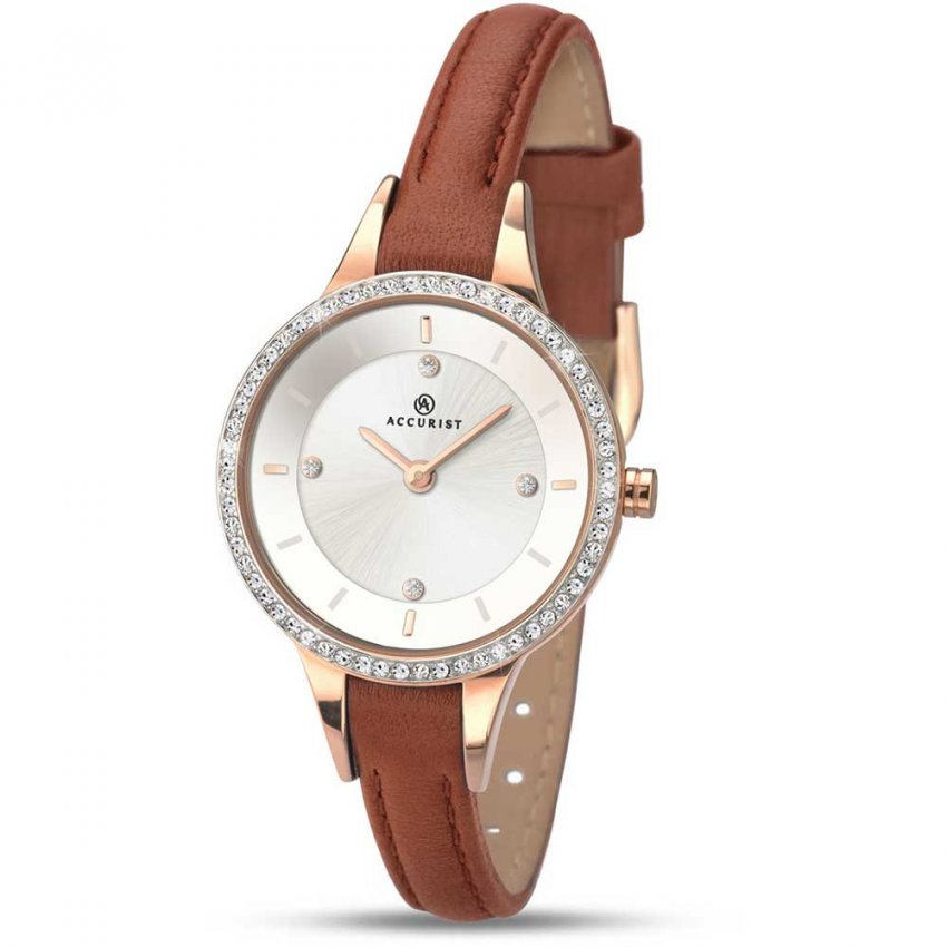 Accurist Ladies Stone Set Tan Leather Dress Watch 8043