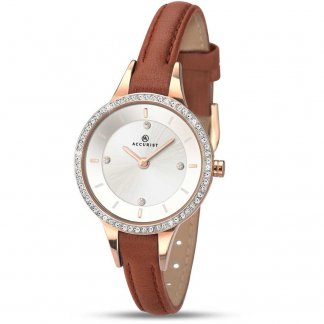 Ladies Stone Set Tan Leather Dress Watch