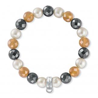 Agate, Haematite & Freshwater Pearl Charm Bracelet X0196-666-7