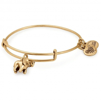 Gold Elephant Charm Bangle