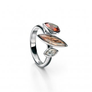 Amber & Copper Swarovski Set Silver Ring Size N