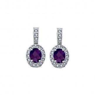 Amethyst & Diamond 9ct White Gold Earrings