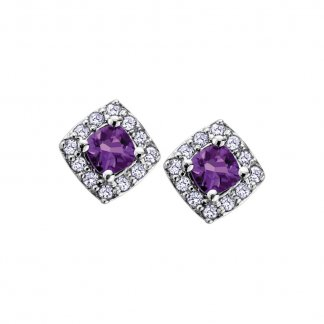 Amethyst & Diamond 9ct White Gold Studs