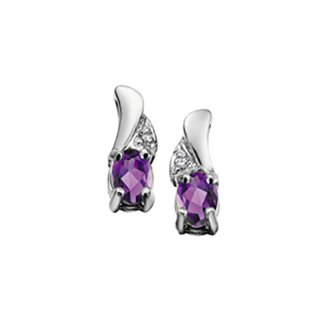 Amethyst & Diamond 9ct White Gold Studs 1305922