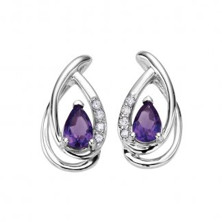 Amethyst & Diamond 9ct White Swirl Earrings