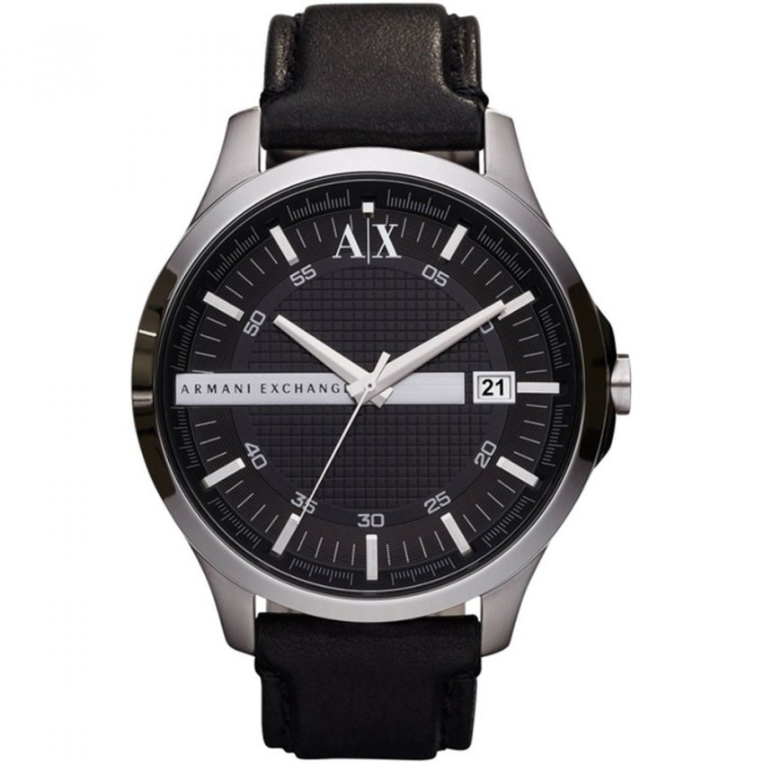 Armani Exchange Gent's Black Leather Strap Watch AX2101