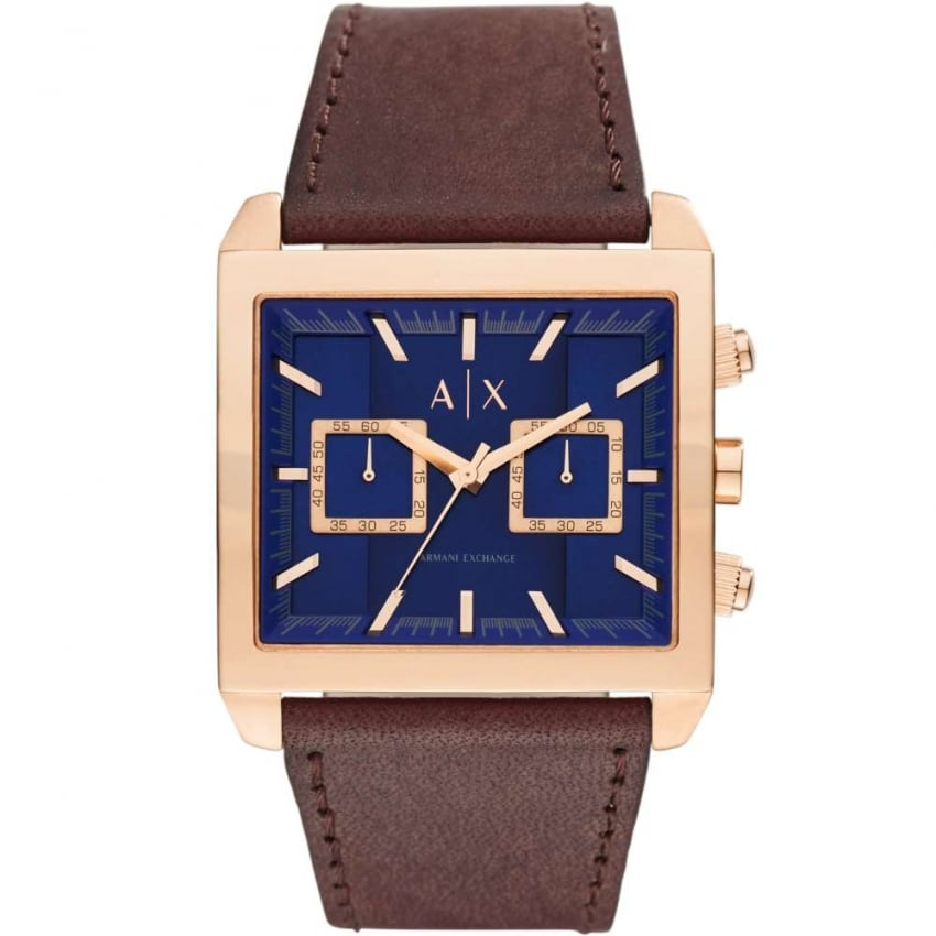 Armani Exchange Gent's Rose PVD Blue Dial Chronograph Watch AX2225