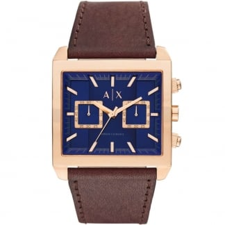 Gent's Rose PVD Blue Dial Chronograph Watch AX2225