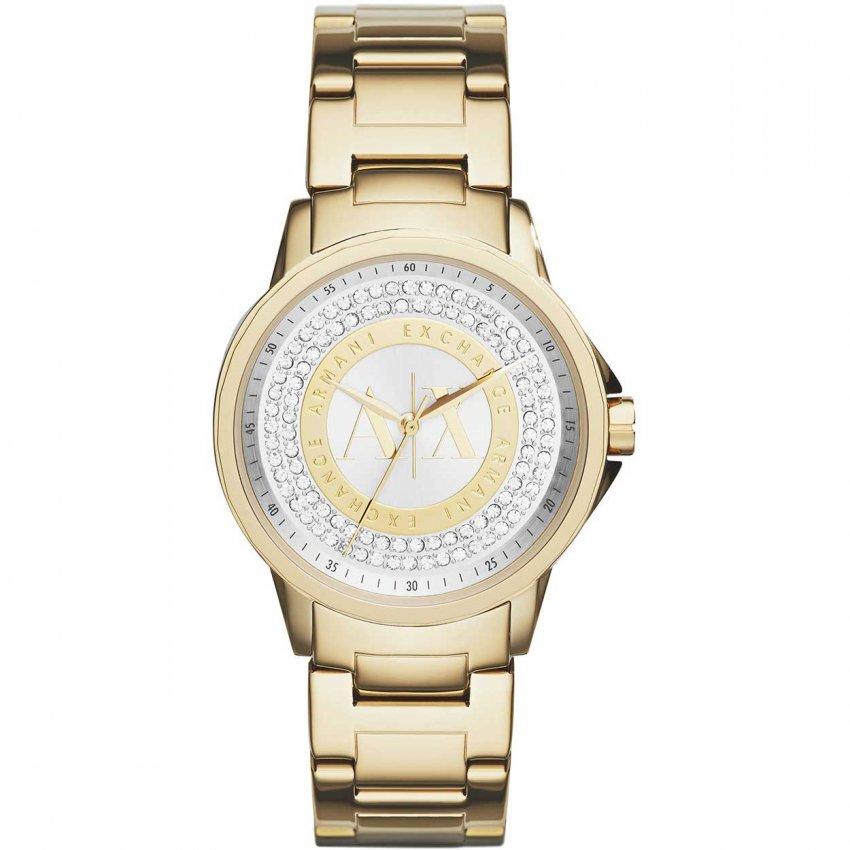 Armani Exchange Ladies Glitzy Gold Tone Bracelet Watch AX4321