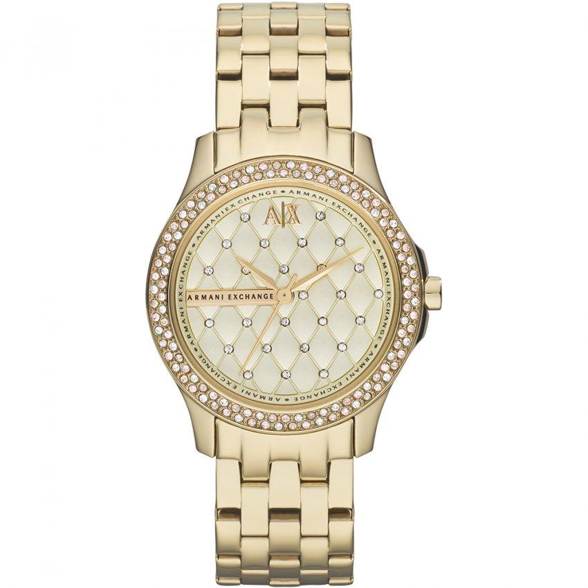 Armani Exchange Ladies Gold Tone Stone Set Watch AX5216