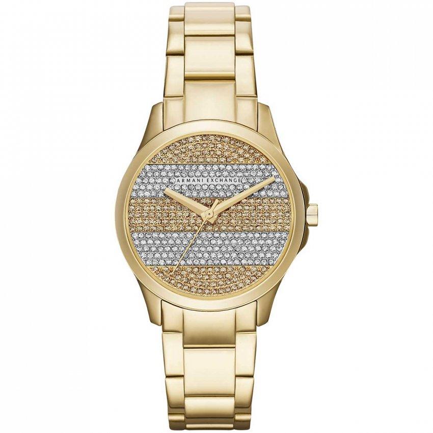 Armani Exchange Ladies Gold Tone Striped Dial Watch AX5242