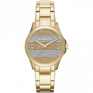 Ladies Gold Tone Striped Dial Watch