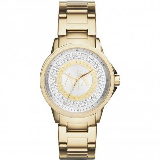 Ladies Glitzy Gold Tone Bracelet Watch AX4321