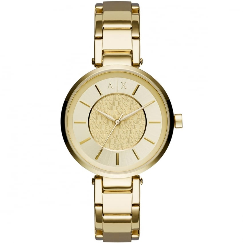 Armani Exchange Ladies Gold Plated Bracelet Watch AX5316