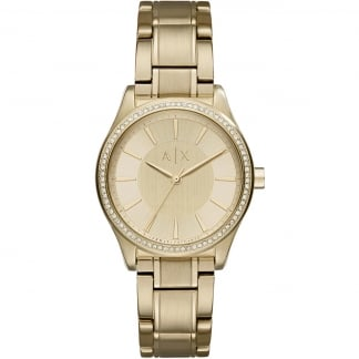 Ladies Gold Plated Stone Set Bezel Watch