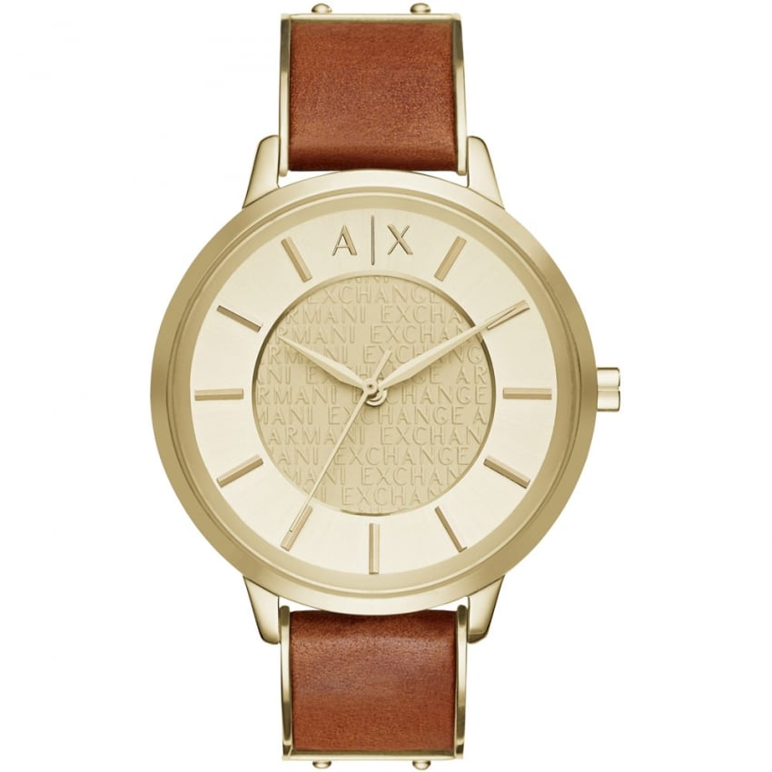 Armani Exchange Ladies Gold PVD Brown Leather Strap Watch AX5314