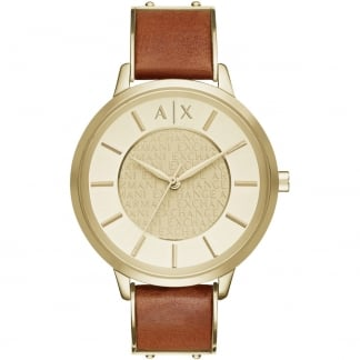 Ladies Gold PVD Brown Leather Strap Watch