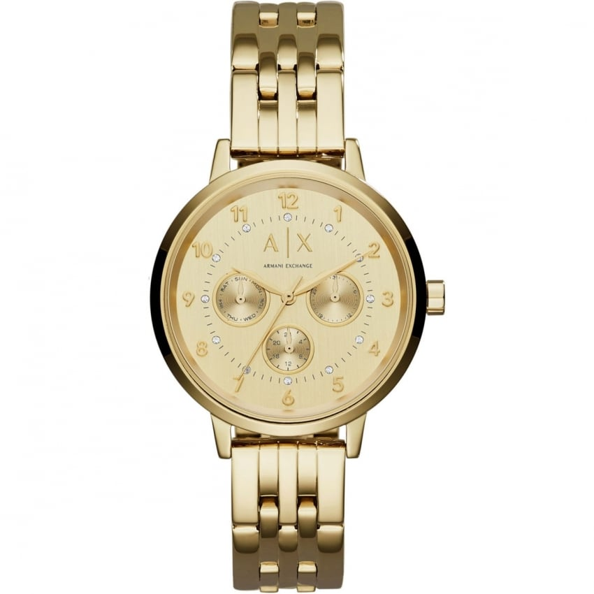 Armani Exchange Ladies Gold Tone Multifunction Watch AX5377