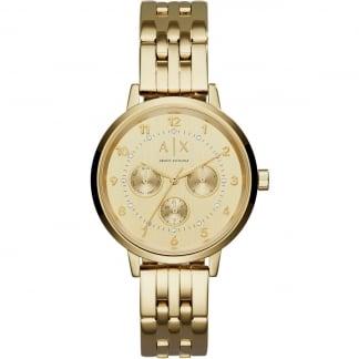 Ladies Gold Tone Multifunction Watch
