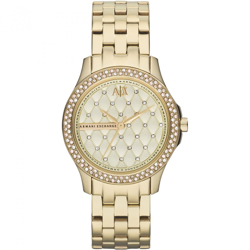 Armani Exchange Ladies Gold Tone Stone Set Watch AX5216