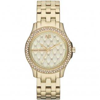 Ladies Gold Tone Stone Set Watch AX5216