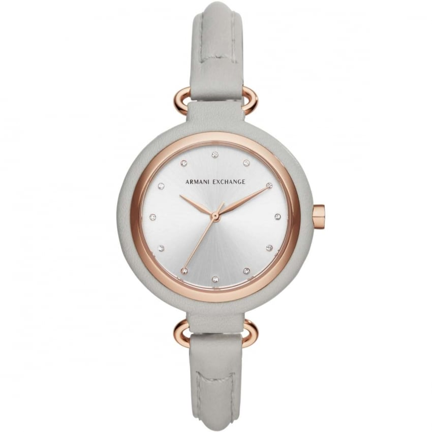 Armani Exchange Ladies Grey Leather Stone Set Strap Watch AX4235