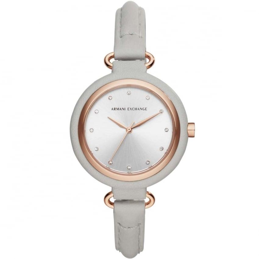 Armani Exchange Ladies Grey Leather Stone Set Strap Watch AX4235