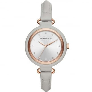 Ladies Grey Leather Stone Set Strap Watch