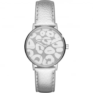 Ladies Leopard-Print Dial Silver Strap Watch