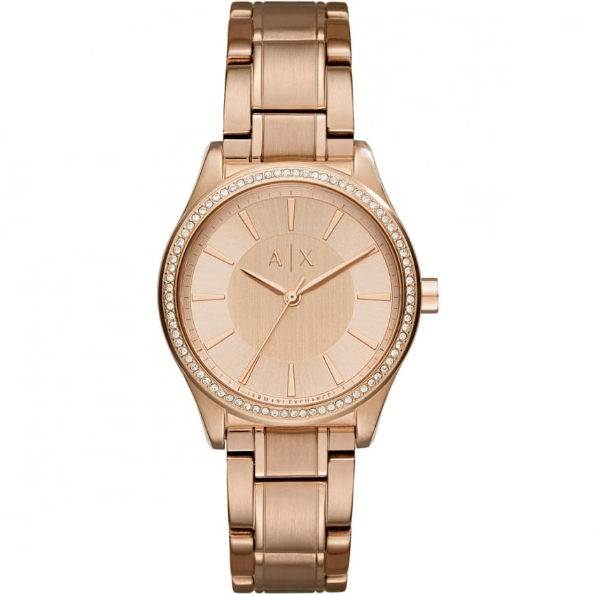 Armani Exchange Ladies Rose Gold Stone Set Bezel Watch AX5442