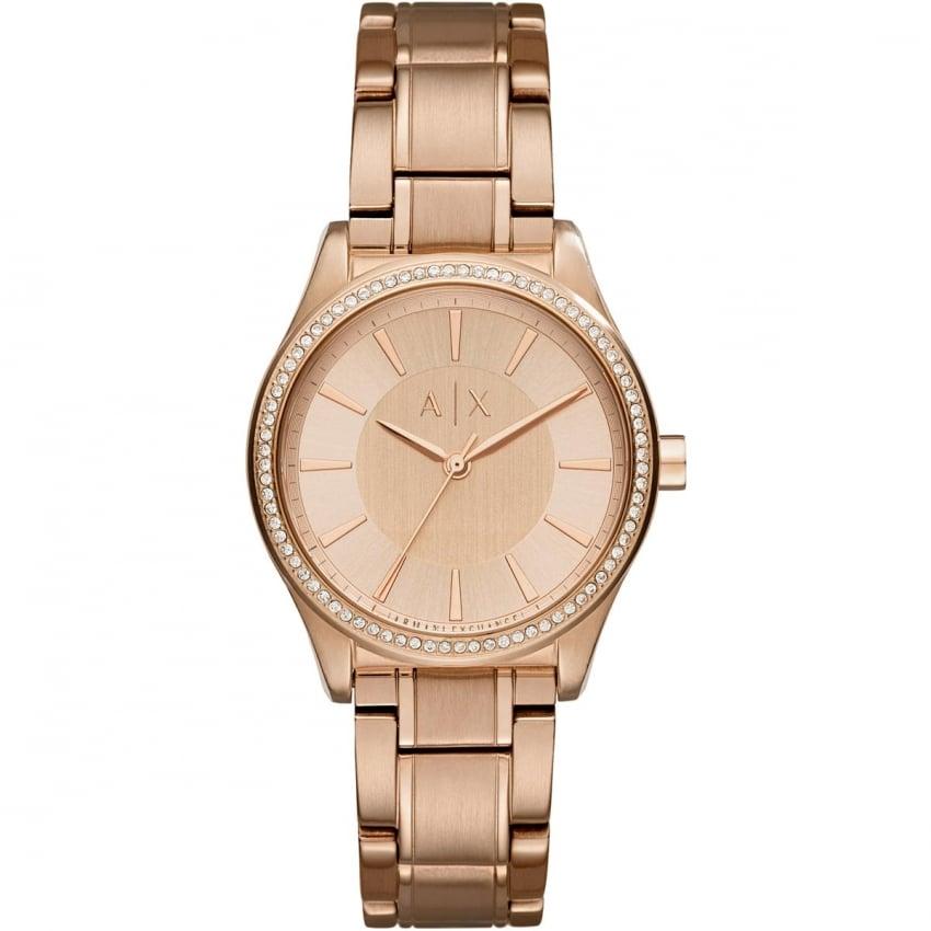 Armani Exchange Ladies Rose Gold Stone Set Bezel Watch AX5442