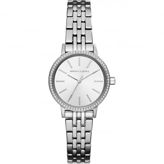 Ladies Silver Tone Crystal Bezel Watch