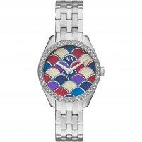 Armani Exchange Ladies Silver Tone Glitz Mosaic Dial Watch AX5526