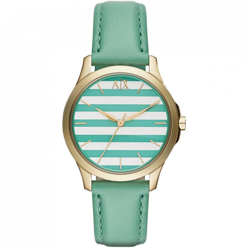 Armani Exchange Ladies Soft Green Leather Striped Dial Watch AX5237