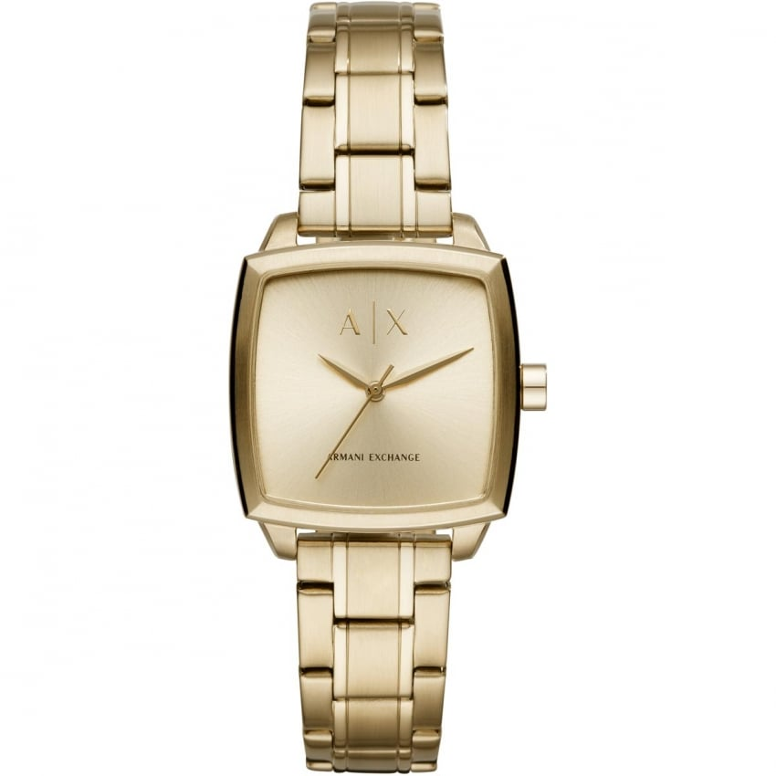 Armani Exchange Ladies Square Shaped Gold Plated Watch AX5452