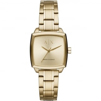 Ladies Square Shaped Gold Plated Watch