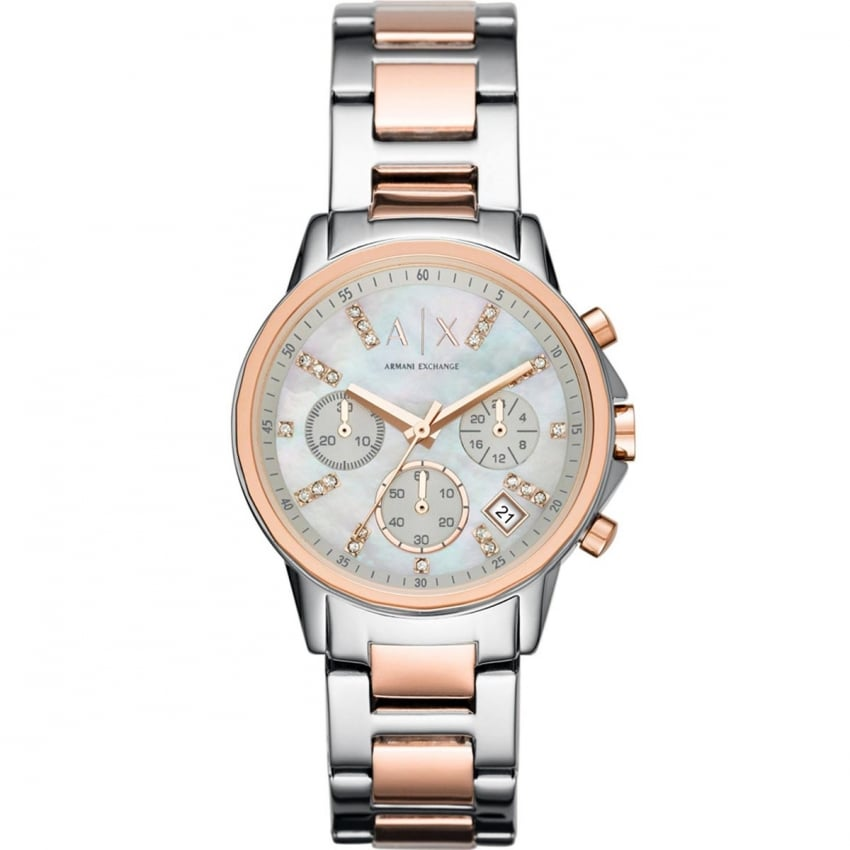 Ladies Steel & Rose Stone Set Chronograph Watch AX4331