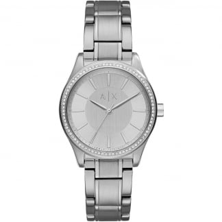 Ladies Stone Set Silver Tone Watch
